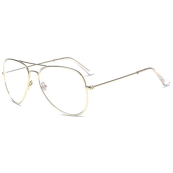 ec2498210f Aviador gafas Marco del metal - Geek   Nerd Retro monturas de gafas Lente  Transparente -UV 400 - Mxssi  Amazon.es  Ropa y accesorios