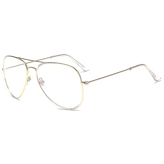 Aviador gafas Marco del metal - Geek   Nerd Retro monturas de gafas Lente  Transparente -UV 400 - Mxssi  Amazon.es  Ropa y accesorios a7f06e969aca