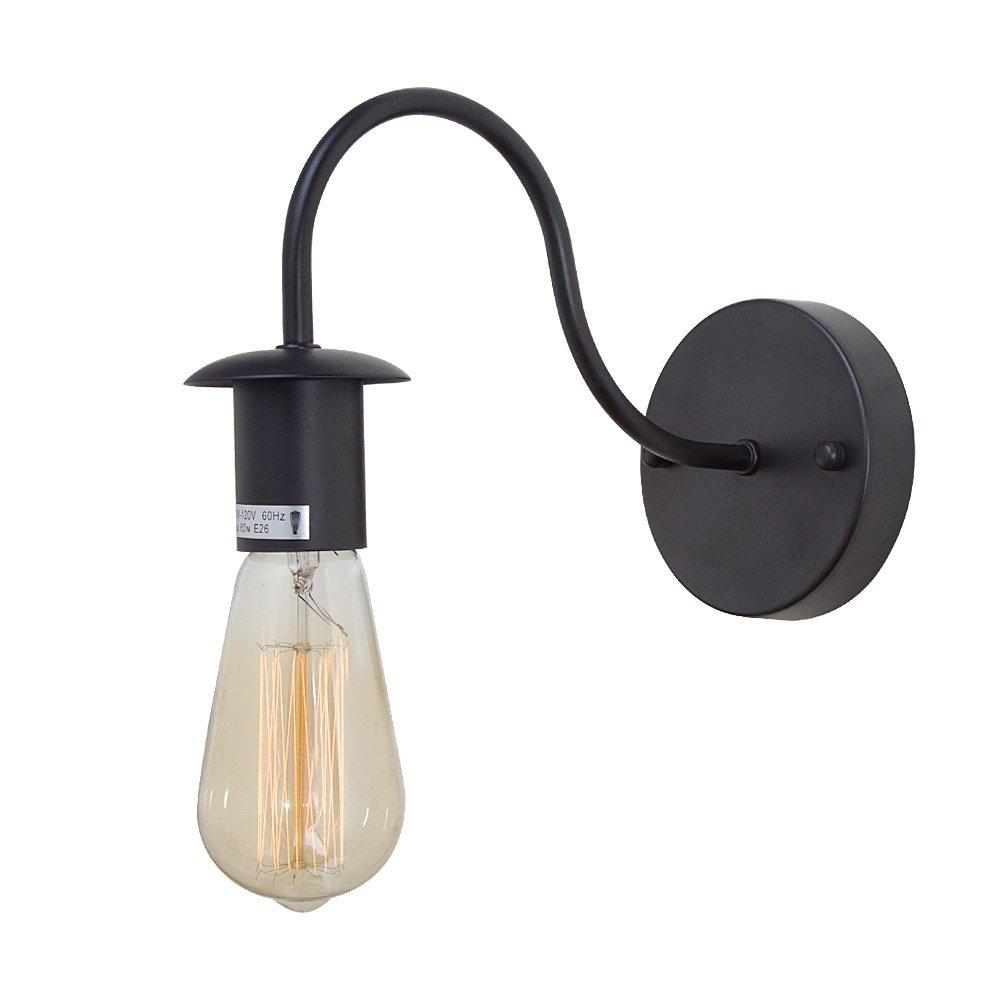 LNC A02974 Industrial 1 Lamp Gooseneck Lighting Use E26 Bulb Wall Sconces, Black