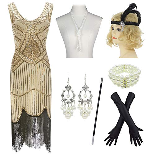 1920s Gatsby Sequin Fringed Paisley Flapper Dress with 20s Accessories Set (2XL, Beige-Black)