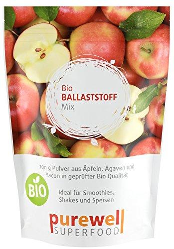 BALLASTSTOFF MIX Pulver - Bio Superfood mit Inulin, Apfelfasern, Yacon, etc. - Für Verdauung, Entgiftung, Diät (200g Bio Ballaststoff Pulver)
