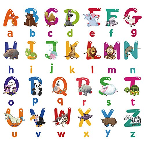 Nursery Educational Wall Stickers - Animal Alphabet Baby Decorative Peel and Stick Wall Art Sticker for Daycare School Kids Room Decoration Decals