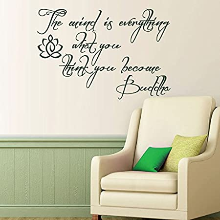 The Mind Is Everything Vinyl Buddha Wall Decal Lotus Flower Wall Decal  Buddha Wall Sticker Home