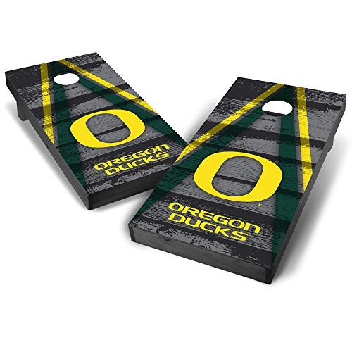 Wild Sports NCAA College Oregon Ducks 2' x 4' Grey Authentic Cornhole Game Set - Vintage Triangle Design -