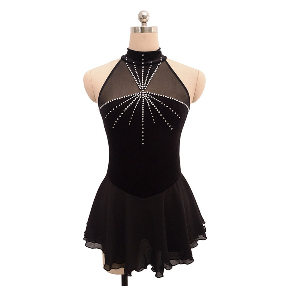 LIUHUO Ice Figure Skating Dress for Girls High Colla