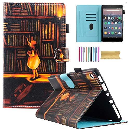 Fire HD 8 Case, Motie Folio Leather Wallet Cover w/Credit Card Slots & Auto Sleep Wake for All New Fire HD 8.0 inch Tablet (5th 6th 7th 8th Generation, 2015 & 2016 2017 2018 Release), Book Shelf
