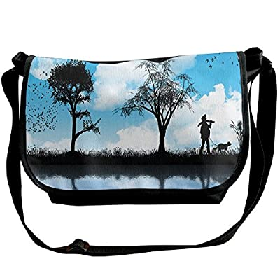 71782ab5b2 Lovebbag Man With The Dog Walking By The Lake With Tree Reflection Moon Sky  Print Decorative