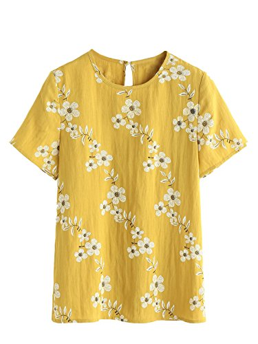 SheIn Women's Summer Crewneck Short Sleeve Floral Print Tunic Top Cotton Blouse Yellow - Blouse Cotton Top