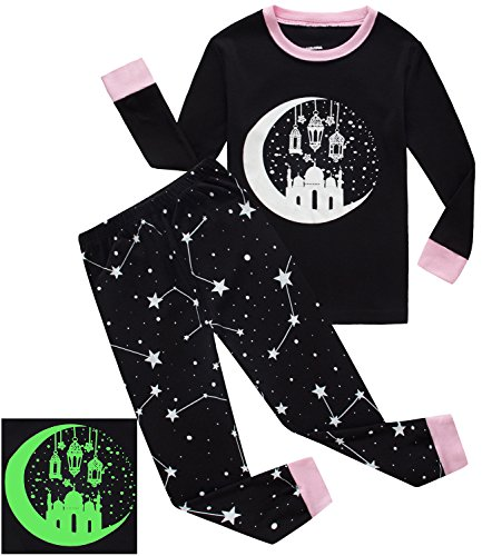 Girls Pajamas Castle Glow-In-The-Dark Kids PJS 100% Cotton