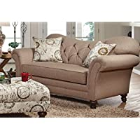 Serta Upholstery 8750LS 8750LS02 Restoration Style Loveseat in Abington, Safari