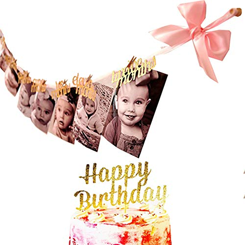 (1st Birthday Gold Glitter Decorations - 12 Months Photo Banner Handmade Monthly Milestone Photo banner with Cupcake Toppers,2 PCS)