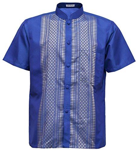 (navasilk Men's Shirt Short Sleeve Thai Silk Mandarin Band Collar (Large, Blue))