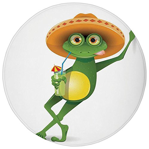 Round Rug Mat Carpet,Cartoon,Frog in a Sombrero and a Cocktail Drink Glass Fauna Hot Weather Holiday,Fern Green Apricot,Flannel Microfiber Non-slip Soft Absorbent,for Kitchen Floor Bathroom