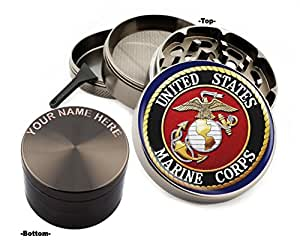 U.S. Marine Corps Design Large Size Zinc Grinder With Your Name FREE - Gift Pack Item # 111315-7