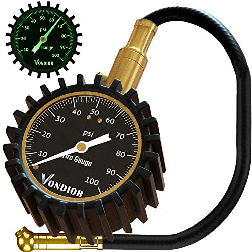 Tire Gauge - (0-100 PSI) Heavy Duty Tire Pressure Gauge. Certified ANSI Accurate with Large 2 Inch Easy to Read Glow Dial, Low - High Air Pressure Tire Gauge for Motorcycle/Car/Truck Tires