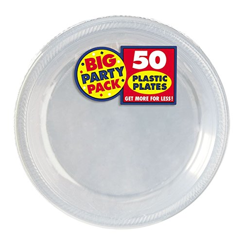 Amscan Big Party Pack 50 Count Plastic Dessert Plates, 7-Inch, Clear