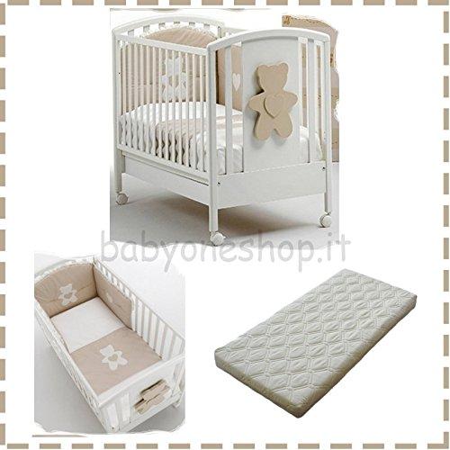 Kinderbett aus Holz Soft Bär + Bettdecke Bestickt Soft + Matratze Bezug beige