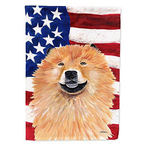 Caroline's Treasures SC9025GF USA American Flag with Chow Chow Flag, Small, Multicolor ()