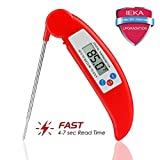 #7: Meat Thermometer,IEKA Digital Electronic Instant Read Super Fast Accurate Food Cooking Thermometer with Collapsible Internal Probe,Best for Kitchen,Grill,BBQ,Milk,and Bath Water (Red)
