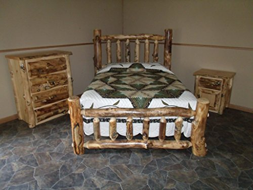 King Log Aspen Bed (Rustic Aspen Log Bedroom Set - King Complete Bed, 4 Drawer Dresser, Nightstand)