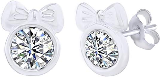 Simulated Garnet Flower Stud Earrings 14K White Gold Over Sterling Silver