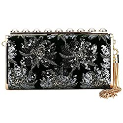 Sequin And Satin Fabric Clutch