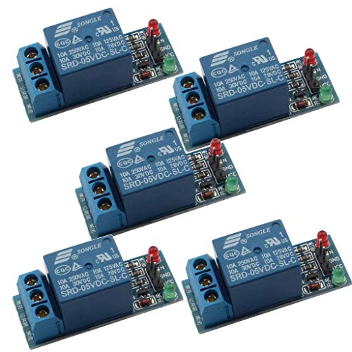 REES52 5 PCS 5v Relay Module for Arduino ARM PIC AVR MCU 5V Indicator Light LED 1 Channel Relay Module Works with Official Arduino Boards Price & Reviews
