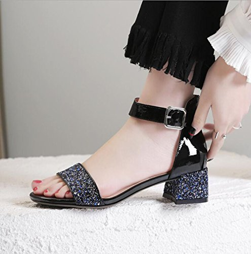 Tacones Hebilla Gruesos Zapatos Negro Medio Talón Lentejuelas Mujer Sandalias de de Palabra Moda axRdw4AI