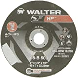 Walter HP Grinding Wheel, Type 27, Round Hole, Aluminum Oxide, 6'' Diameter, 1/4'' Thick, 7/8'' Arbor, Grit A-24-HPS (Pack of 25)