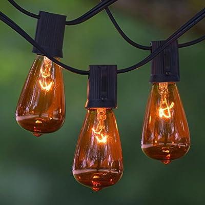 Vintage String Lights - 100 ft Black C9 cord - Amber Vintage Bulbs