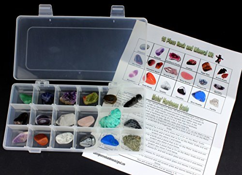 cational Collection in Collection Box -18 Pieces with description sheet and educational information. Limited Edition, Geology Gem Kit for Kids in a Display Case, Dancing Bear brand (Rock Set)