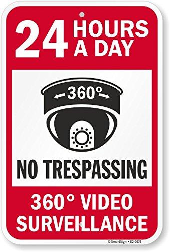 SmartSign by Lyle K2-0474-AL-18x24 24 horas y 360 grados de videovigilancia señal de aluminio