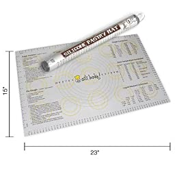 Silicone Large Pastry Mat With Measurements.  14.9'' x 23.3'' Non-Slip Sheet Sticks To Countertop For Rolling Dough