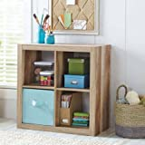 Versatile 4-Cube Storage Case for Organization and Display, Made of MDF and Laminated Particleboard, (Storage Bins and Other Extras NOT Included, Weathered + Expert Home Guide by Love US