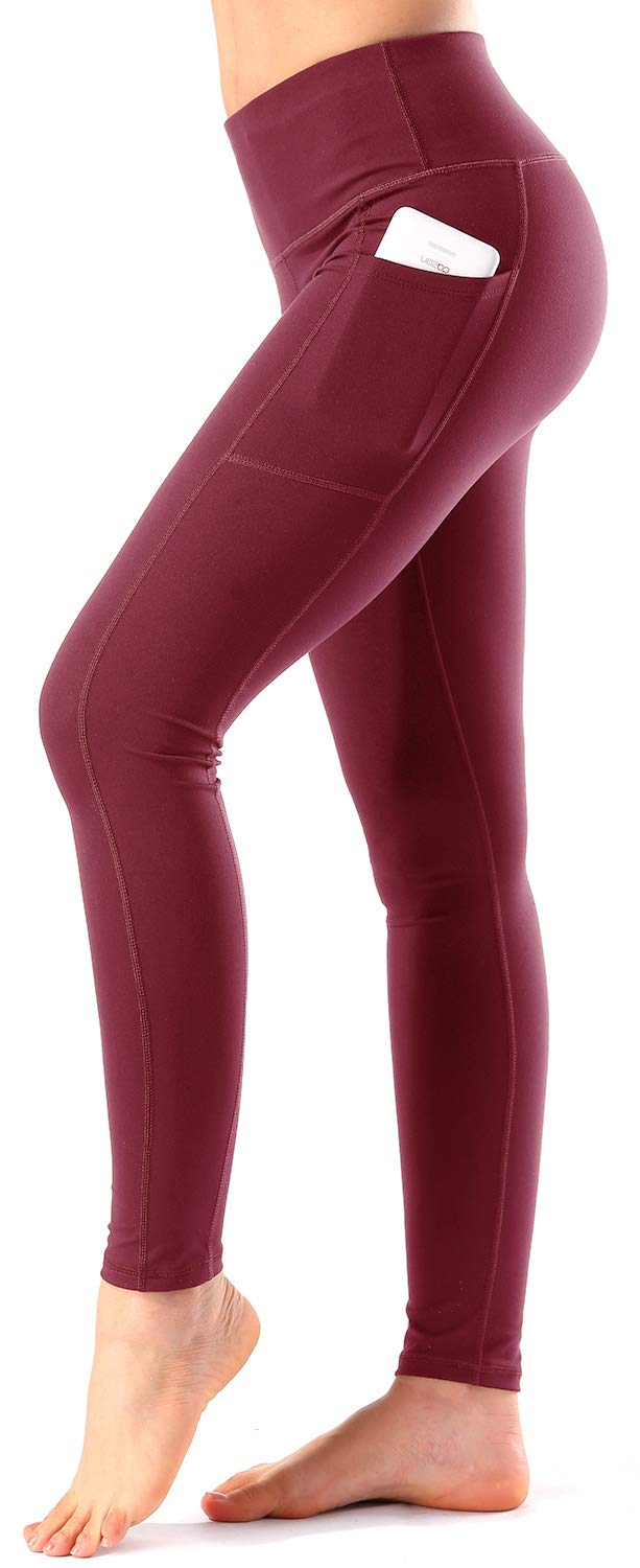 b84177c510 Women's High Waist Yoga Pants with Side & Inner Pockets Tummy Control  Workout Running 4 Way