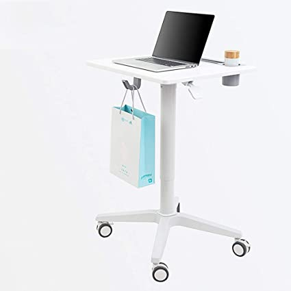 Table Meiduo Pneumatic Sit Stand Mobile Desk Cart Height Adjustable From 67 To 101 Cm White Computer Desk Amazon Co Uk Kitchen Home