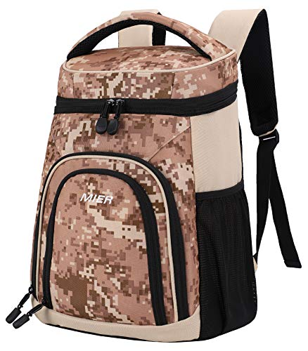 MIER Insulated Cooler Backpack Leakproof Soft Cooler for Lunch, Picnic, Hiking, Beach, Park, 24Can, Camo