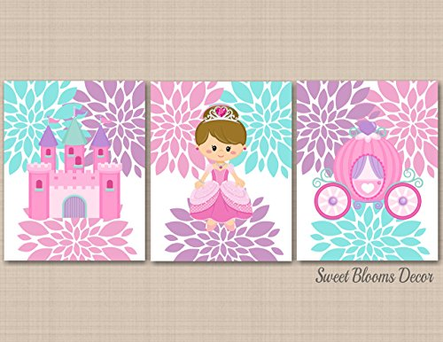 Princess Décor Princess Wall Art Pink Purple Teal Pretty Princess Wall Art Princess Floral Wall Décor Princess Room Décor Castle Carriage Unicorn- UNFRAMED Set of 3 PRINTS (NOT CANVAS) C439