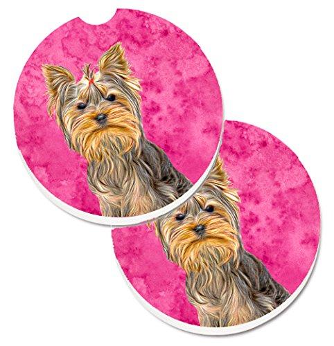 (Caroline's Treasures Pink Yorkie/Yorkshire Terrier Set of 2 Cup Holder Car Coasters KJ1227PKCARC, 2.56, Multicolor)