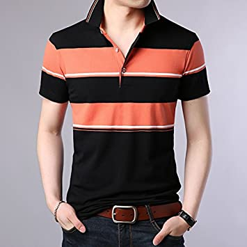 XiaoGao Hombre Solapa Polo Rayas Manga Corta,Orange: Amazon.es ...