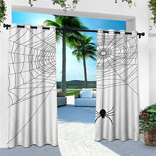 leinuoyi Spider Web, Outdoor Curtain Pole, Complex Doodle Net Sticky Gossamer Hunting Insect Catch Danger Prey Spooky, Outdoor Privacy Porch Curtains W96 x L108 Inch Black White