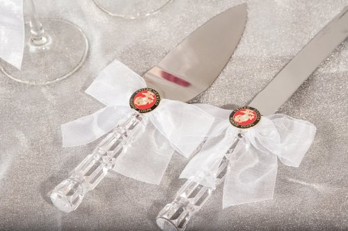 Military Wedding Cake Server Set - Air Force - Navy - Army - Marines: Bow Color: White - Seal: -