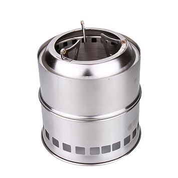 Hornillos de Acampada Estufa de Leña Estufa de Alcohol Gas Acero Inoxidable para Actividades al Aire
