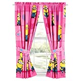 Despicable Me Minions Pink Curtains - Set of 2 w/ Tie Backs