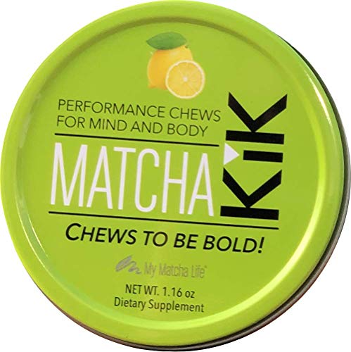 Matcha KiK Performance Chews – Energy, Endurance, Mental Focus, Antioxidants – Lemon Flavor – 6 Chews per Tin (Bundle of 3) – for Sport Performance and The Workplace – Vegan Gluten-Free Keto-Friendly