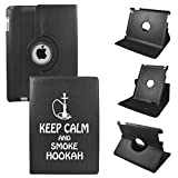 iPad Air 2 case - iPad Air 6th Generation Cover Compatible for Apple - PU Leather 360 Rotating 6 Gen Protective Case with Stand - Model A1566 or A1567 2014 (Keep Calm and Smoke Hookah)
