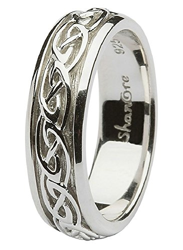 Sterling Silver Women\'s Celtic Wedding Ring (8) | AJS Clothing