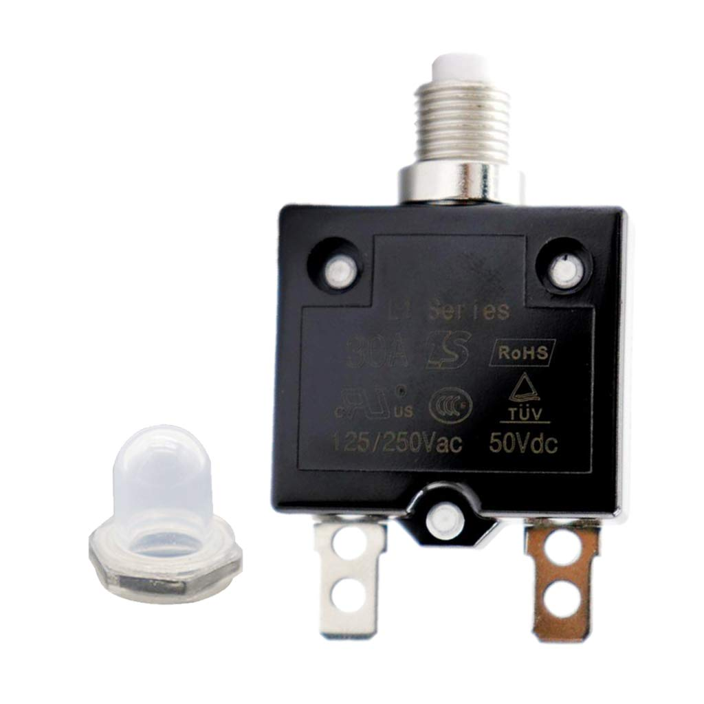 DC 50V AC 125//250V Thermal Overload Protector with Transparent Waterproof Button Cap Almencla 30A Push Button Reset Circuit Breaker