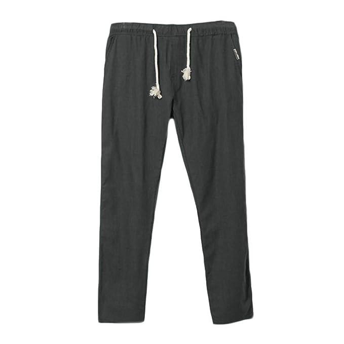 Amazon.com: Xiaoa - Pantalones vaqueros para hombre, de lino ...
