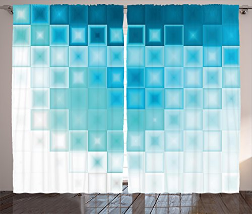 Ambesonne Abstract Curtains, Mosaic Style Soft Toned Fractal Square Shapes with Charming Effects Image Print, Living Room Bedroom Window Drapes 2 Panel Set, 108 W X 84 L Inches, Aqua Blue